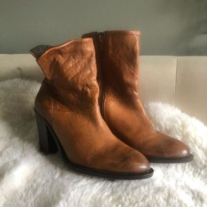 Cognac Leather Booties Steven by Steve Madden